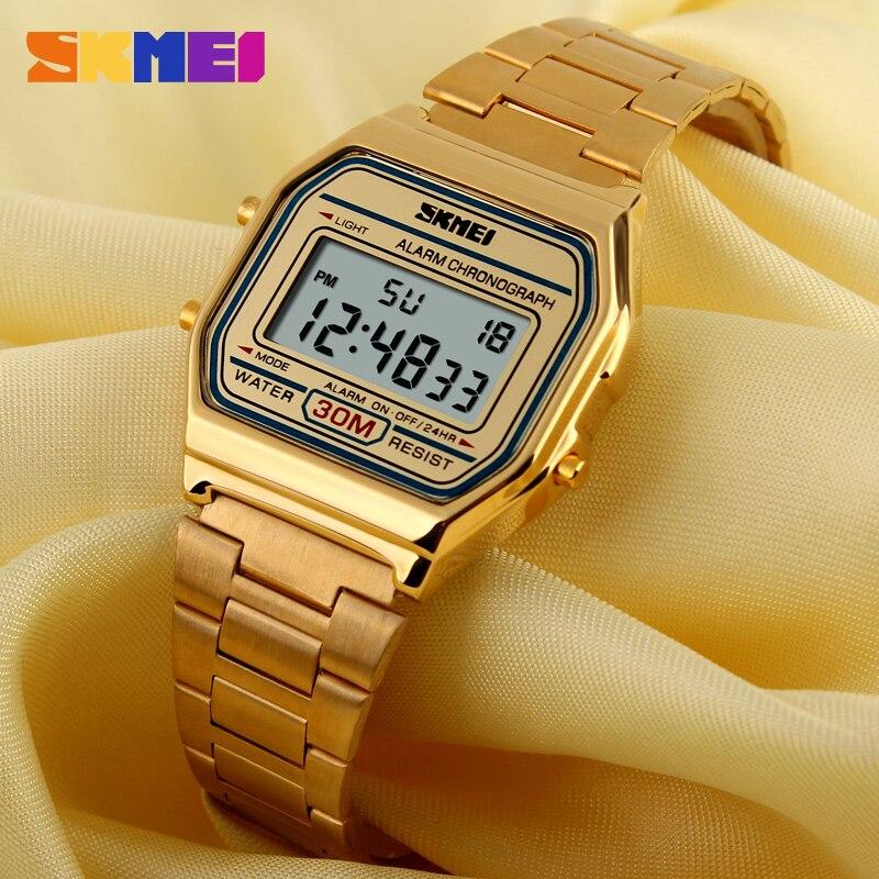Skmei led digital esportes relógios masculinos feminino relogio masculino aço inoxidável militar relógios de pulso à prova d1123 água
