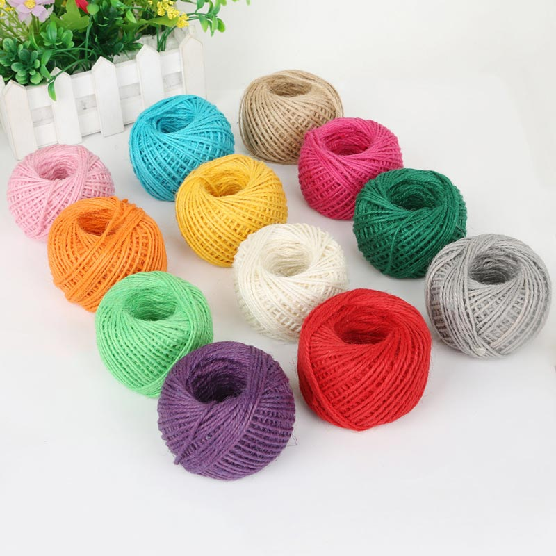 50M/Roll Colorful Natural Burlap Hessian Jute Twine 2mm Handwork DIY Home Decoration Gift Packing String Accessories Supplies