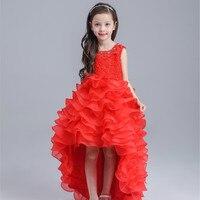 Latest Red Tailed Children Dress Princess Short Front Long Back Wedding Flower Girl Vestidos Party 2016