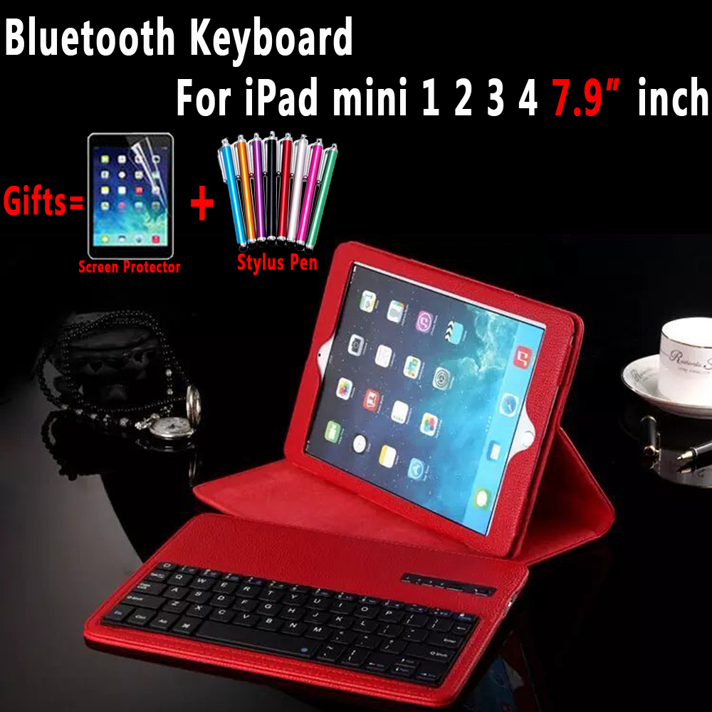 Litchi Pattern Leather with Removeable Wireless Bluetooth Keyboard Shell Case Cover for Apple iPad Mini 1 2 3 4 7.9 inch Coque 7 9 inch universal detachable wireless bluetooth magnetic keyboard with pu leather cover case for apple ipad mini 2 3 4