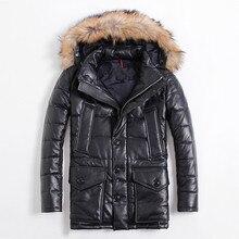 2017 Men Black Long Genuine Leather Goose Down Jacket Fur Collar Real Sheepskin Slim Fit Winter Thick Warm Coat FREE SHIPPING