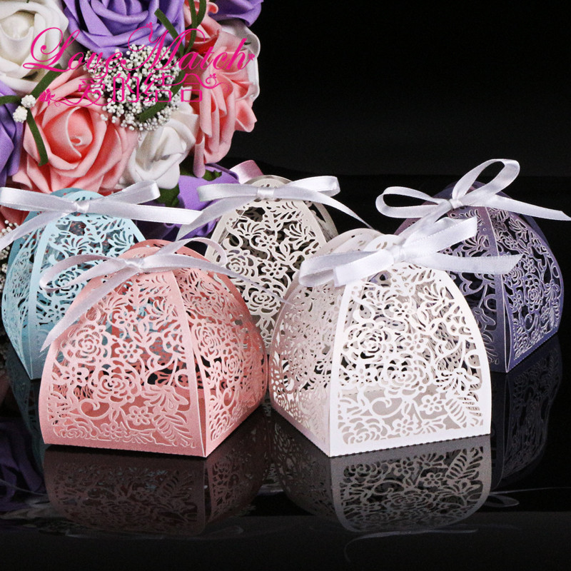 50Pcs 5 colors Laser Cut Lace Flower Wedding Candy Box Wedding Gift For Guest Wedding Favors And Gifts Birthday Party Decoration