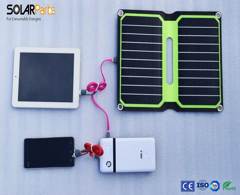 Solarparts 5V 10W ETFE lamianted all in one high efficiency portable solar power bank charger USB