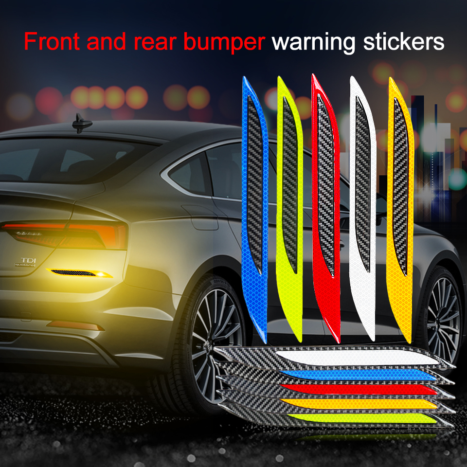 2Pcs Carbon Fiber Reflective Safety Warning Strip Tape Car Bumper Reflective Strips Secure Reflector Stickers Decals Car Styling