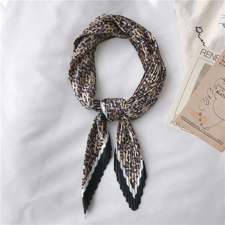 Designer scarf Summer women imitated scarf European style fashion printed pleated foulard folding kerchief neck scarf for women in Women 39 s Scarves from Apparel Accessories