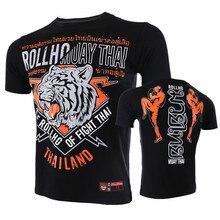VSZAP Men T-shirt Breathable Short Sleeve MMA Fight Sporting Printed Tiger Tshirt UFC Fighting Fitness Muay Thai Sanda