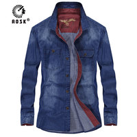 New men's color block denim shirt long sleeved casual shirt Slim cotton social Masculina