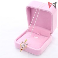 2018 MMGG Anime Pink Glod Necklace Card Captor CLEAR KINOMOTO SAKURA Cosplay Pendant Accessory Jewelry