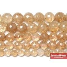 Новое поступление, граненые кварцевые бусины с цитринами, 15 дюймов, 6, 8, 10 мм, выберите размер для изготовления ювелирных изделий