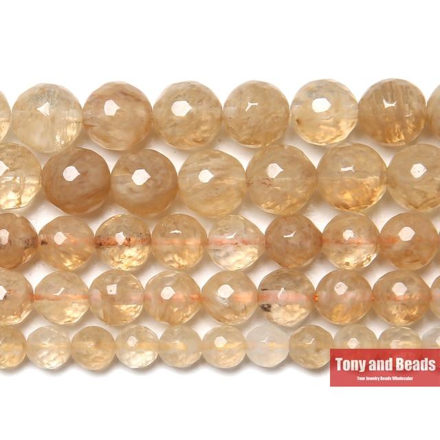 """Livraison gratuite nouveauté perles de Quartz Citrines à facettes 15 """"brin 6 8 10mm taille de choix pour la fabrication de bijoux"""