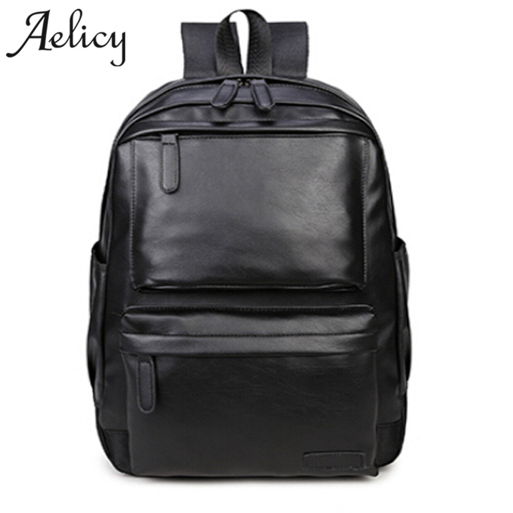 Aelicy Unisex Business Casual Backpacks Travel Bag Black Pu Leather Men's Fashion Shoulder Bags Teenage Backpack Men Casual