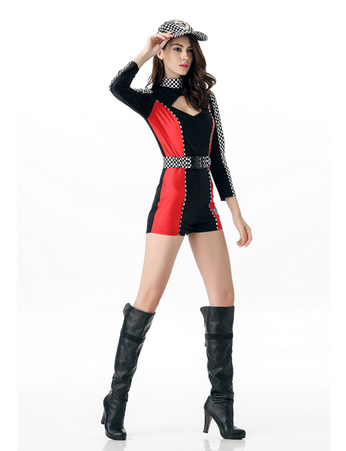 MOONIGHT M L XL Sexy Miss Super Car Racer Racing Costume Driver Grid Girl Prix Fancy Costume Jumpsuits+Hat+Belt 4