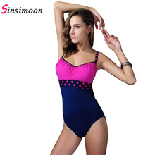 polka dot print plus size one piece bathing suits big maillot de bain grande taille femme push up bae watch swimsuit plavky 2016