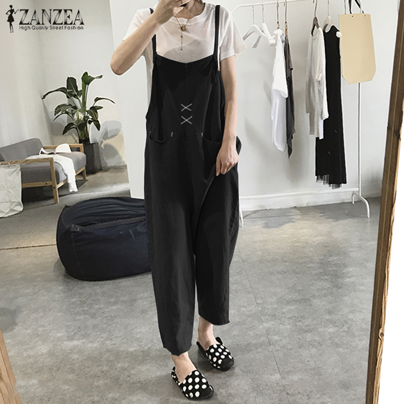 2018 Plus Size ZANZEA Solid Strappy Sleeveless Pockets Rompers Elegant Cotton Wide Leg Playsuits Women Casual Jumpsuit Overalls