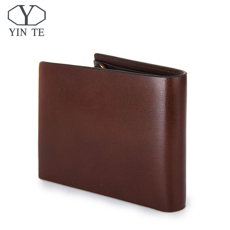 YINTE Fashion Wallet Leather Men Wallet Short Brown Bag Men Purse High Quality Male Card Holder Wallet Portfolio W8847C 2017 hengsheng high grade quality cross pattern men s short wallet fashion men folding pocket purse solid free shipping for male