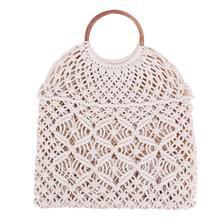 Пляжная сумка из ротанга с хлопковой веревкой, Плетеная соломенная тканая сумка без подкладки, сумка для хранения, модные женские сумки, модные сумки через плечо