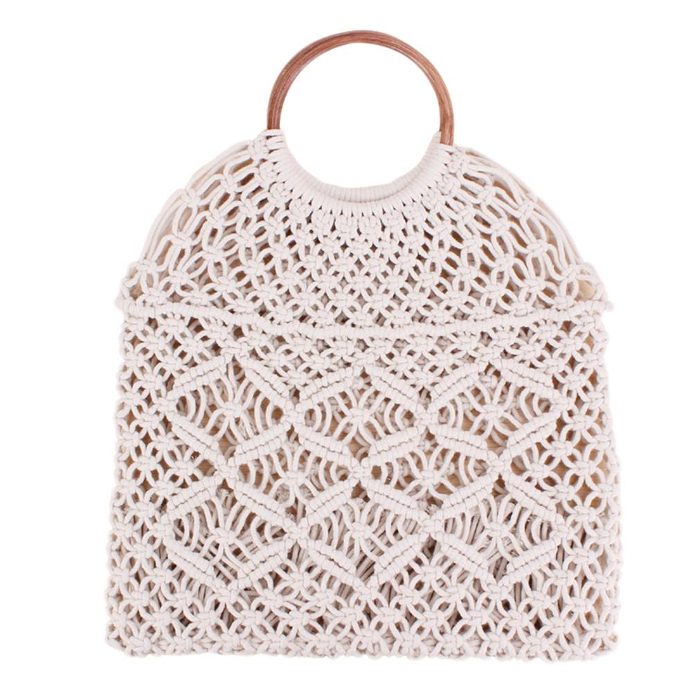034325ccb845 US $12.13 39% OFF|Rattan Cotton Rope Hollow Straw Woven Beach Bag Without  Lining Storage Bag Fashion Women's Totes Fashion Shoulder Bags-in  Top-Handle ...