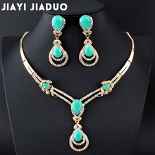 Hot sale on jiayijiaduo African fashion wedding jewelry set Gold-color Charm women summer clothing accessories days blue crystal wholesale
