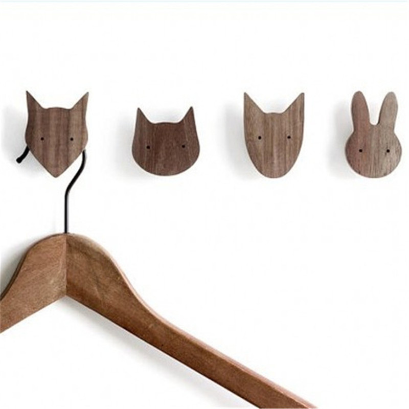 Cute Wooden Animal Hooks Kids Room Hat Hanger Wall Garden Decorative Hook Photography Props Home Decor Coat Hooks