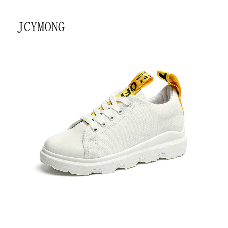 JCYMONG 2018 New Black Green Yellow White Breathable Canvas Shoes Fashion Platform Flat Women Lace UP Solid Causal Shoes