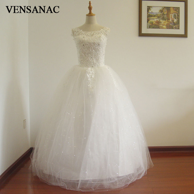 VENSANAC 2017 Ny A Line Crystal O Hals Tank Ermeløs Hvit Satin Brudekjoler Wedding Dress 30480