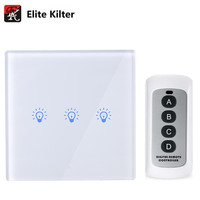 EU Standard Touch Switch Remote Control 3 Gang 1 Way Crystal Glass Switch Panel Single FireWire
