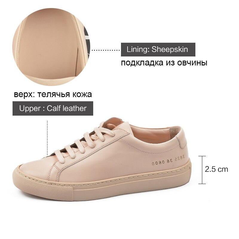 Donna-dans Sneakers Femmes En Cuir Véritable Plat Faible Talon Plate-Forme Dames à lacets Mode Respirant Chaussures Femmes 2019 Blanc Nu - 5