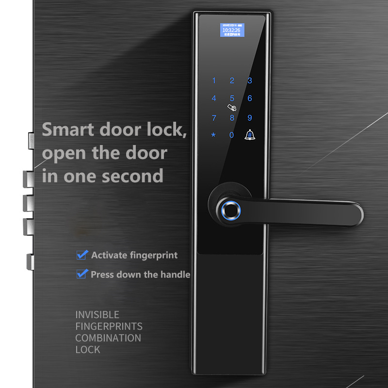 Keyless Entry Fingerprint Door Lock Aluminum Alloy Anti theft Smart Password Electronic Lock With Door Bell For Home House in Door Locks from Home Improvement