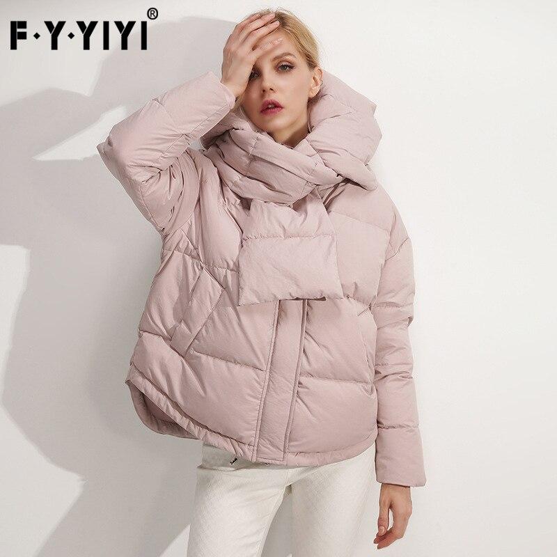 FYYIYI mode qualité duvet de canard veste dames à capuche à manches longues veste chaude hiver femmes taille large thying bureau montre de sport