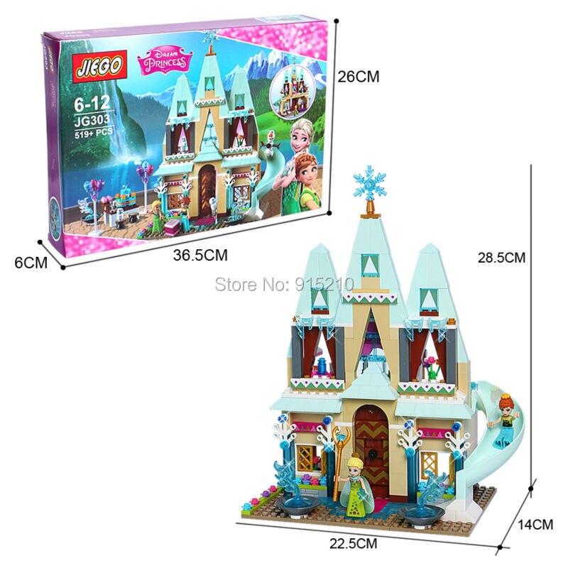 Anna Elsa s Sparkling Ice Castle Set Sleigh Adventure Princess Series Building Block Minifigure Girls Toy