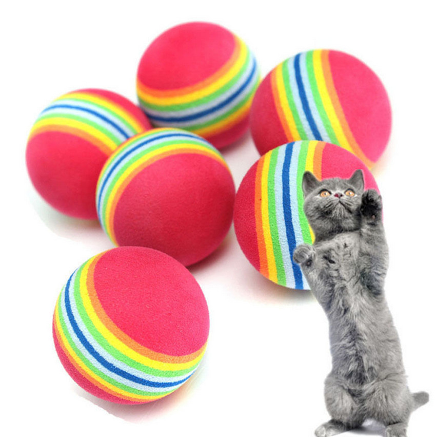 6pcs/lot Small Coloured Pet Cat Kitten Soft Foam Rainbow Play Balls Activity Fun Toys