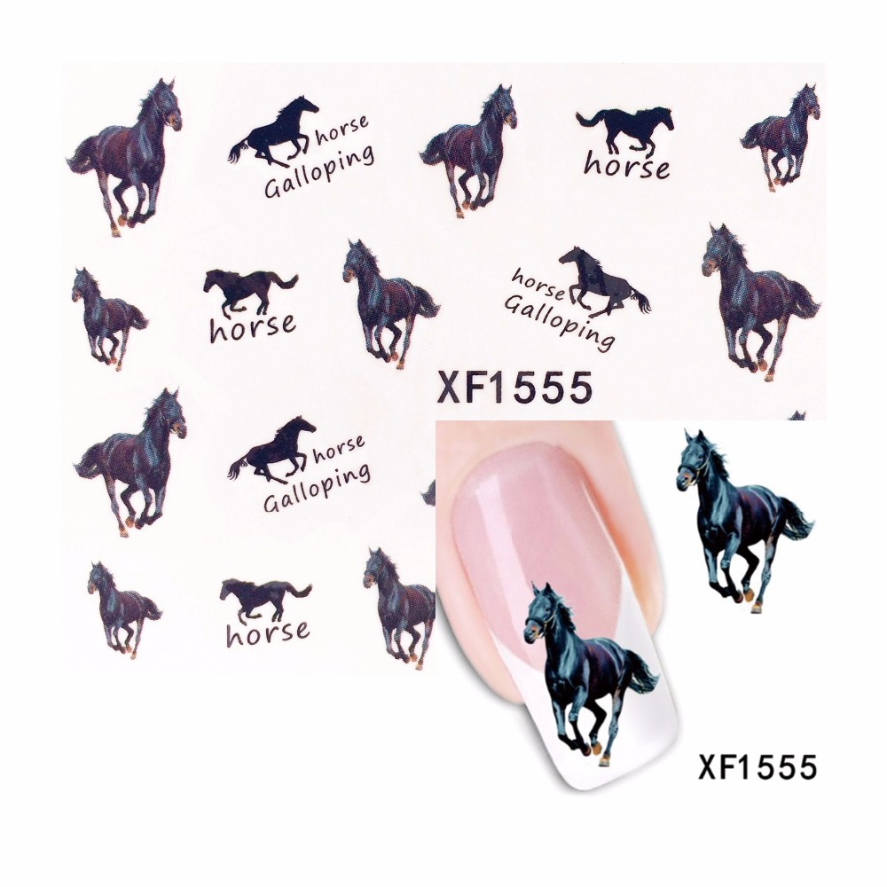 ZKO 1 Sheet Pentium Horse Design Water Transfer Nail Art Sticker Water Decals DIY Decoration For Beauty Nail Tools 1555