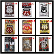 Metal Tin signs Gas Station US Route 66  Vintage Home Decorative Bar Pub Rustic Wall Plaque Garage Diner