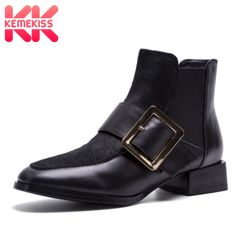 KemeKiss Women Ankle Boots Genuine Leather Flats Boots Fashion Metal Buckle New Winter Quality Black Shoes
