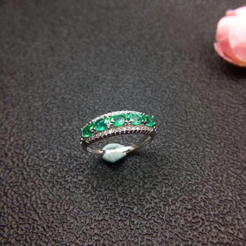 Natural green emerald gem Ring S925 Silver Natural Gemstone Ring Fashion grace array Women party gift office Rings Jewelry
