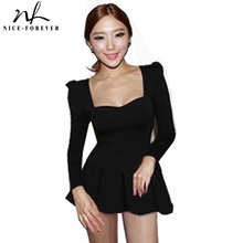 Nice-forever Summer t-shirts Women's Fashion Korean Square Neck Puff Long Sleeve Tunic Fitted Peplum Tops 542