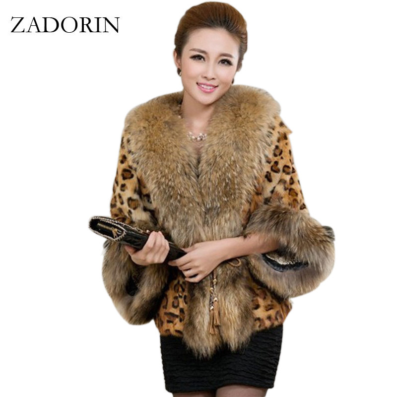 2016 Fashin Sexy Winter Women Faux Fur Leopard Coat With Raccoon Dog Collar Faux Fur Poncho gilet chalecos de pelo mujer S-3XL fishtail braid with hair accessory