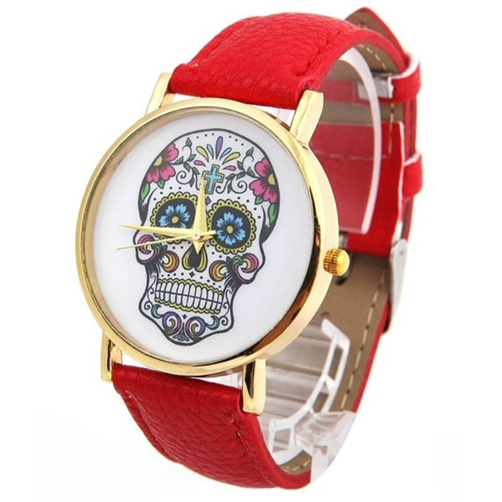New Top Skull Women Watch Mexican Catrina Flowers Cross Pu Leather Wristwatch Girl Vintage Fashion Casual Geneva Style Reloj