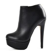 Onlymaker נשים של פלטפורמה סקסי עקב גבוה נעלי קרסול רוכסן צד פגיון פלוק מגפי Blus גודל US5 ~ US15