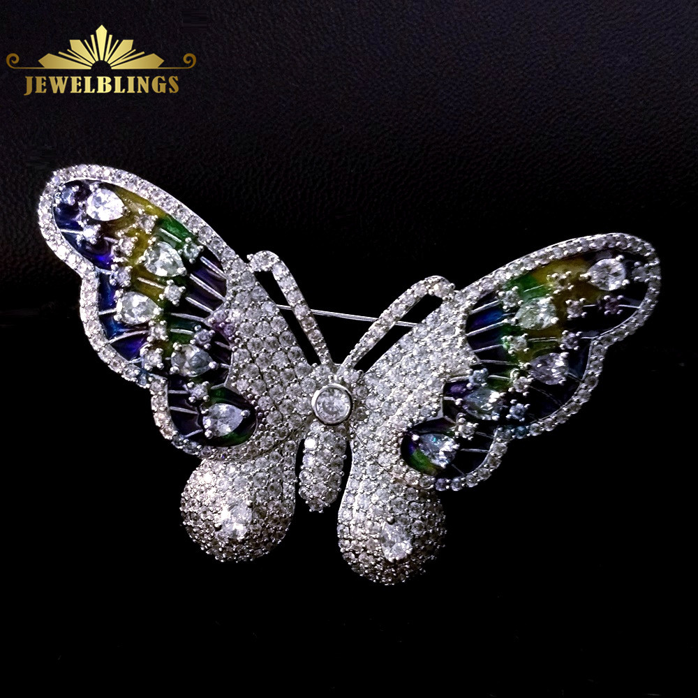 Vintage Clear White CZ and Enameled Colorful Butterfly Brooch Silver Tone Micro Pave Stones Studded Iridescent Butterfly Broach