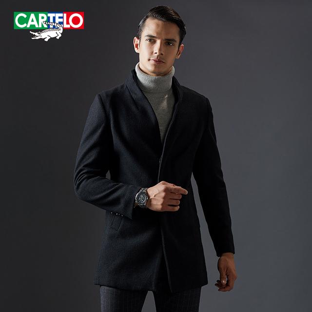 Cartelo marca 2016 nova marca longo casaco de caxemira dos homens casaco de lã blends winter fashion business casual kfjsjc006