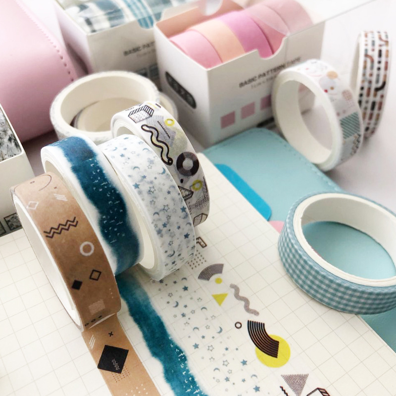 5pcs/lot Cute Japanese Stationery Stripe Colour Tape Scrapbook Adhesive Scrapbooking Art Supplies