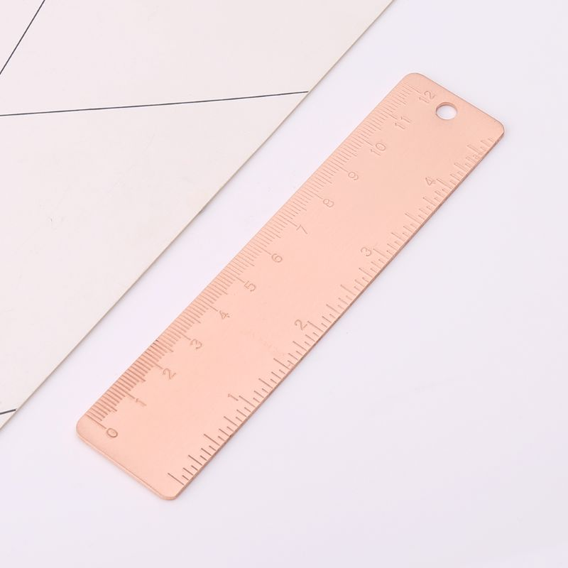 Vintage Copper Brass Straight Ruler Bookmarks Label Cartography Painting Measuring Tool Office School Stationery