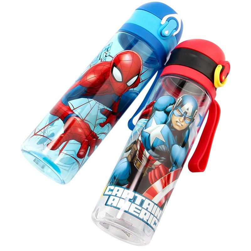 Boys Spiderman Captain America Cartoon Cups Disney Kids Straight Drink Cup Feeding Sport Bottles