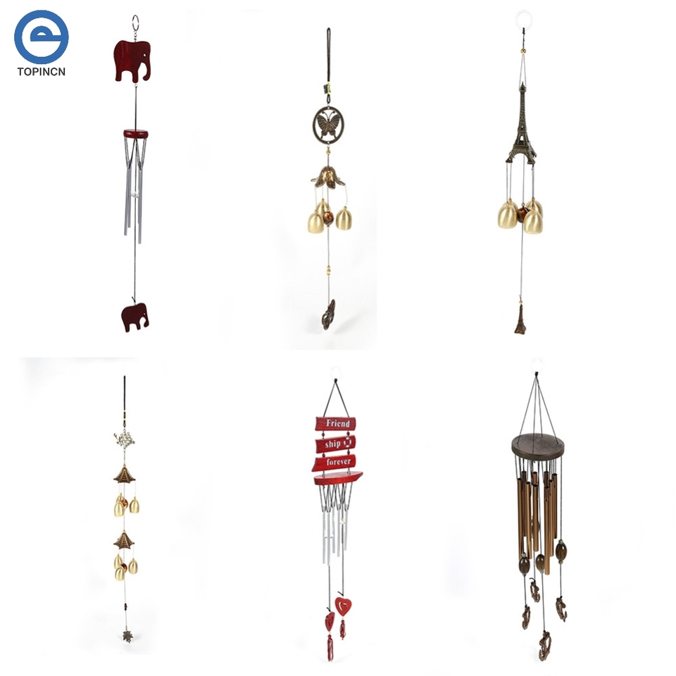 NIKOLay Vintage Wind Chimes Elephant Dragon Peacock Fish Pattern Bell Chinese Knot Tassel Hanging Home Decorations,Elephant