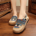 Original national style handmade straw shoes, 2017 new fashion casual women canvas shoes flat embroidered retro shoes