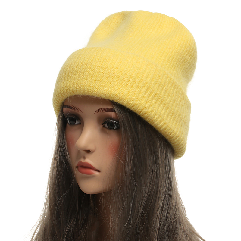 Thick Double Layer Warm Women Winter Hats   Beanies   Knitting Rabbit Wool Fur Hat Female   Skullies   Hats Caps Gorros Solid Color