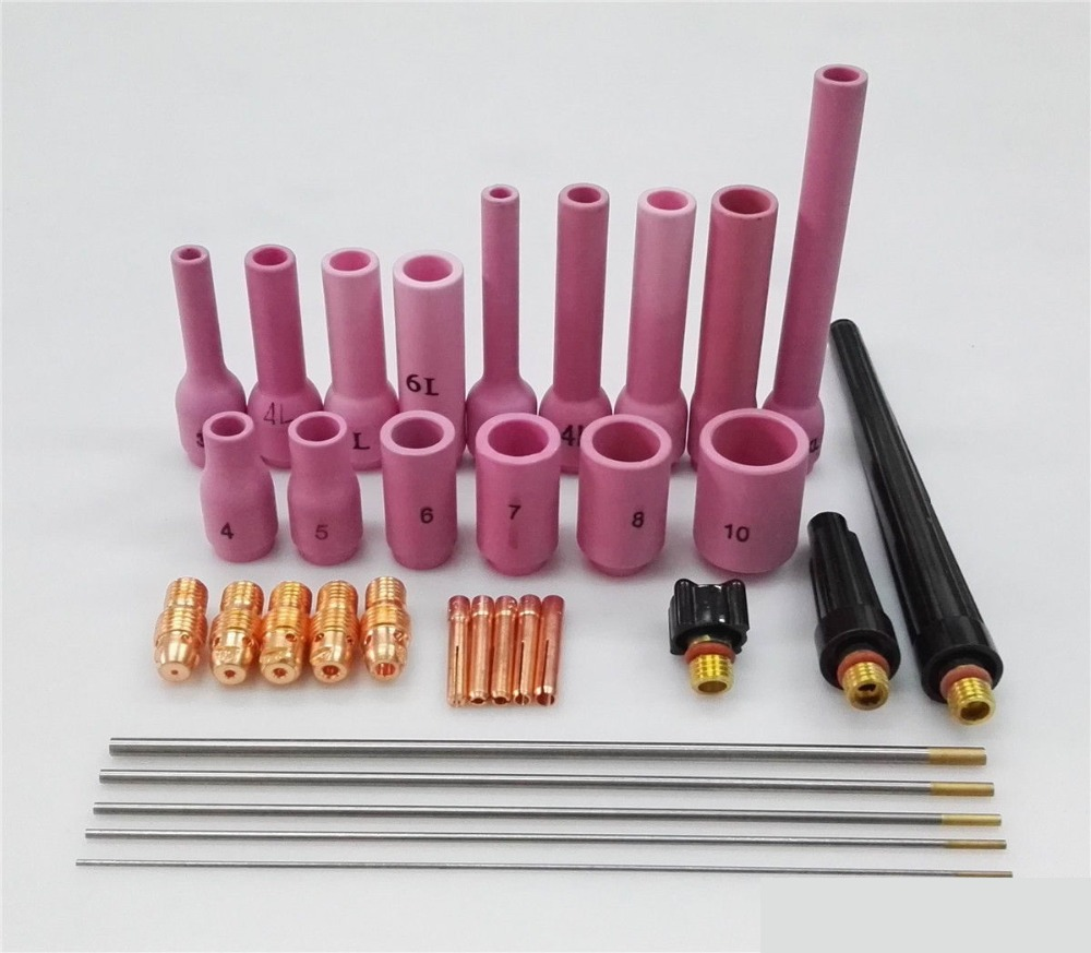SALE 33PCS TIG Welder Torch Common Cup Collet Body Nozzle Consumables Kit For TIG Welding Torch Fit WP-9 20 25 Free Post plasma torch shield spring spacer guide electrode nozzle tip consumables for s45 47pcs pr0110 pd0116 08 pc0116 cv0010