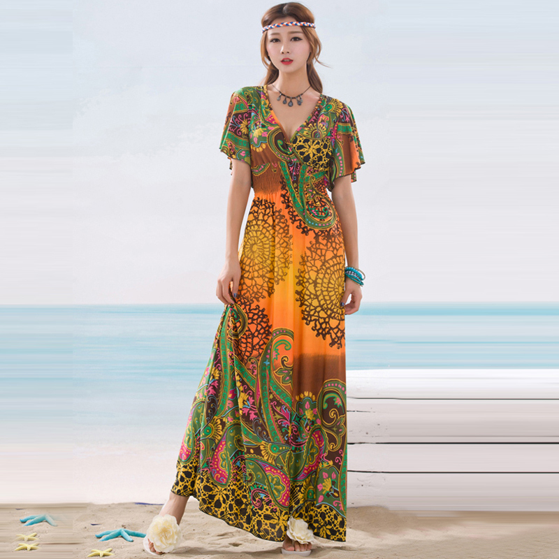 6335e71ca3 2018 Women Summer Dress Bohemian Butterfly Sleeve Elastic Waist Sexy V Neck  Floral Print Long Maxi Dress India Style vestidos-in Dresses from Women's  ...
