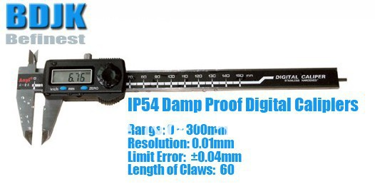 0~300mm IP54 Damp Proof Digital Caliper / Measuring Tool / Instrument with 0.04mm Limit Error 0 300mm high precision digital vernier caliper measuring tool instrument with 0 025mm limit error